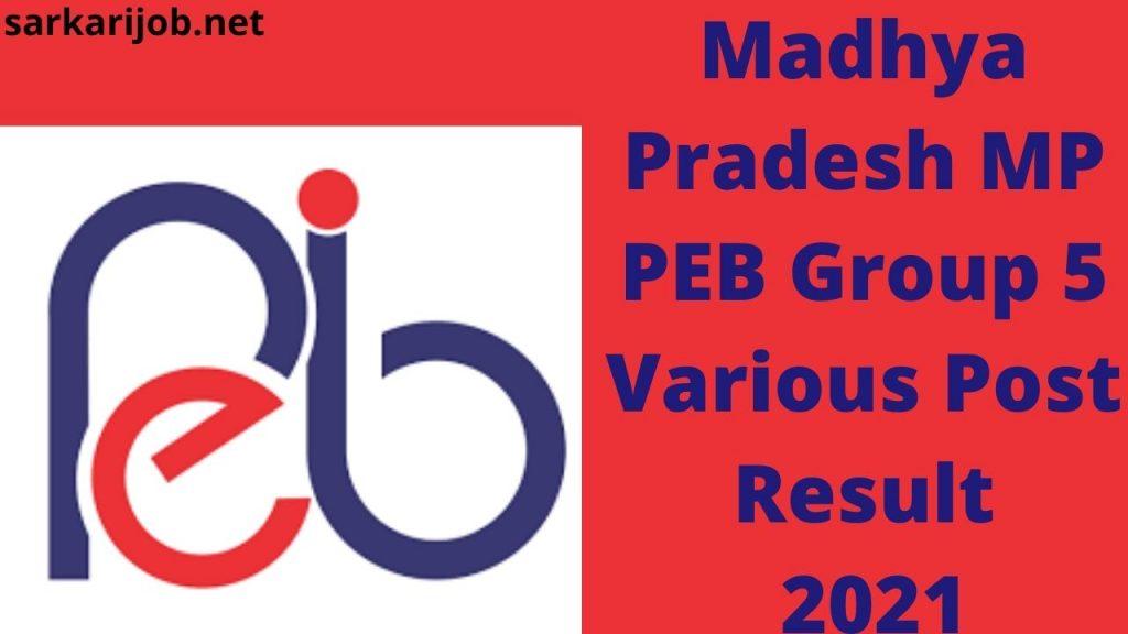 Madhya Pradesh MP PEB Group 5 Various Post Result 2021
